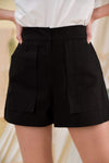 AWE Bottoms JAMIE FLARE SHORTS IN BLACK