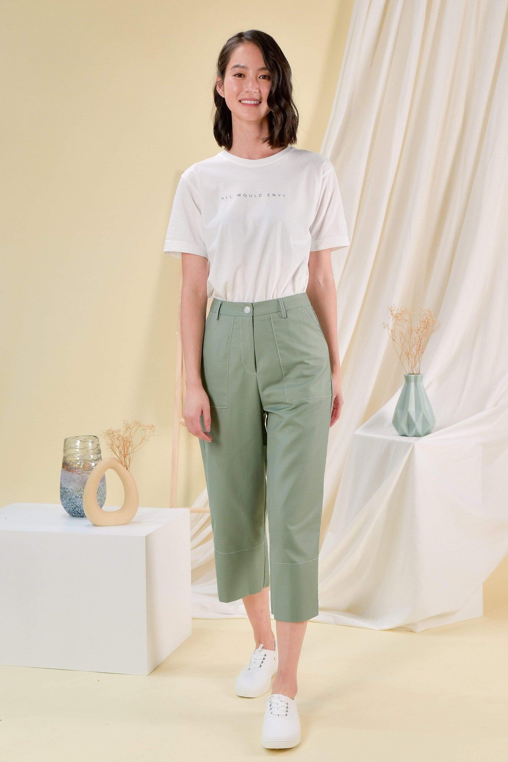 JILL STITCHED CULOTTES IN MOSS GREEN
