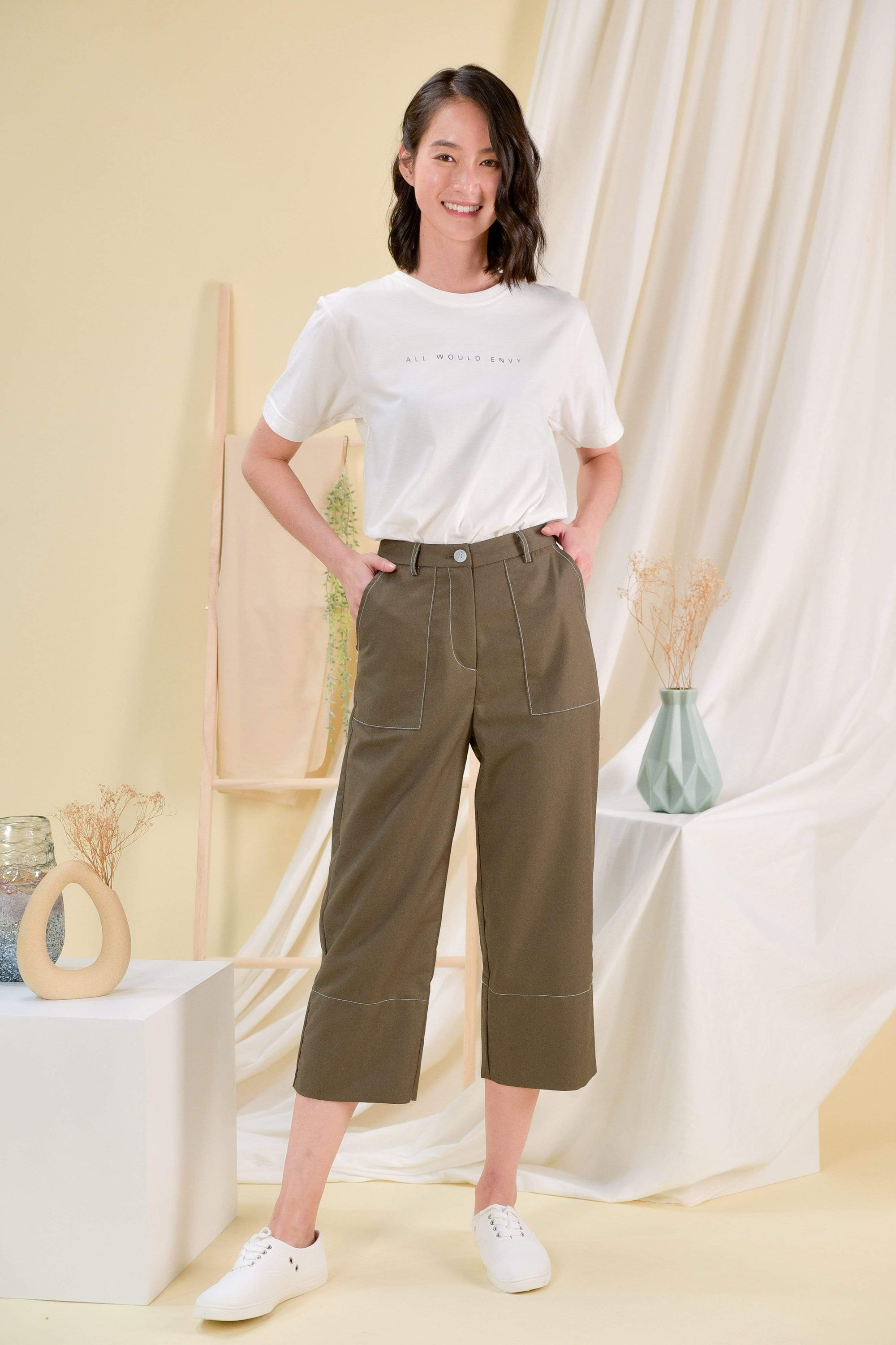 JILL STITCHED CULOTTES IN OLIVE