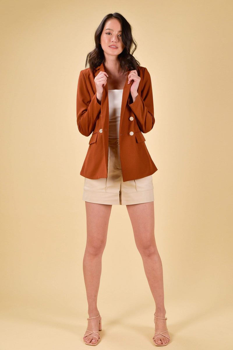 AWE Bottoms JOCINA DOUBLE-BREASTED BLAZER IN BRICK