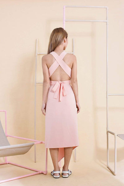 AWE Bottoms MADELYN PINK SLIT MIDI SKIRT