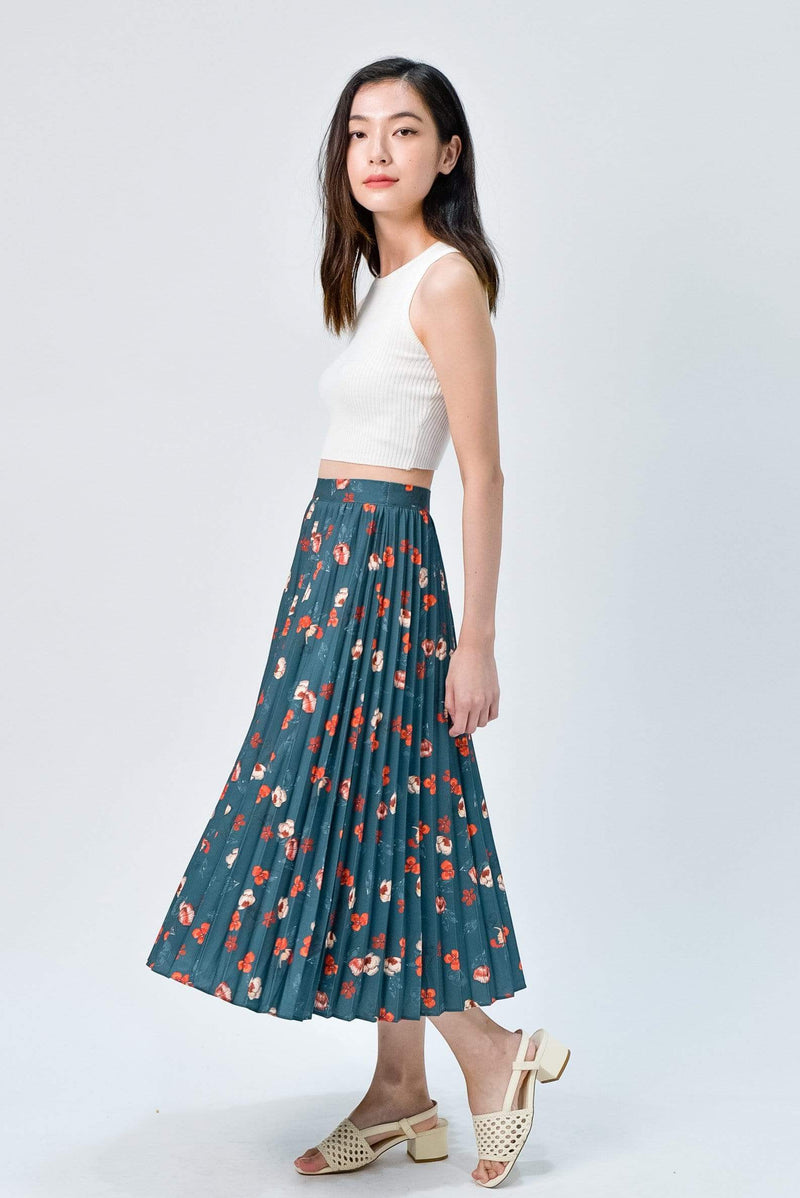 MAPLE FOREST FLORAL PLEATED SKIRT