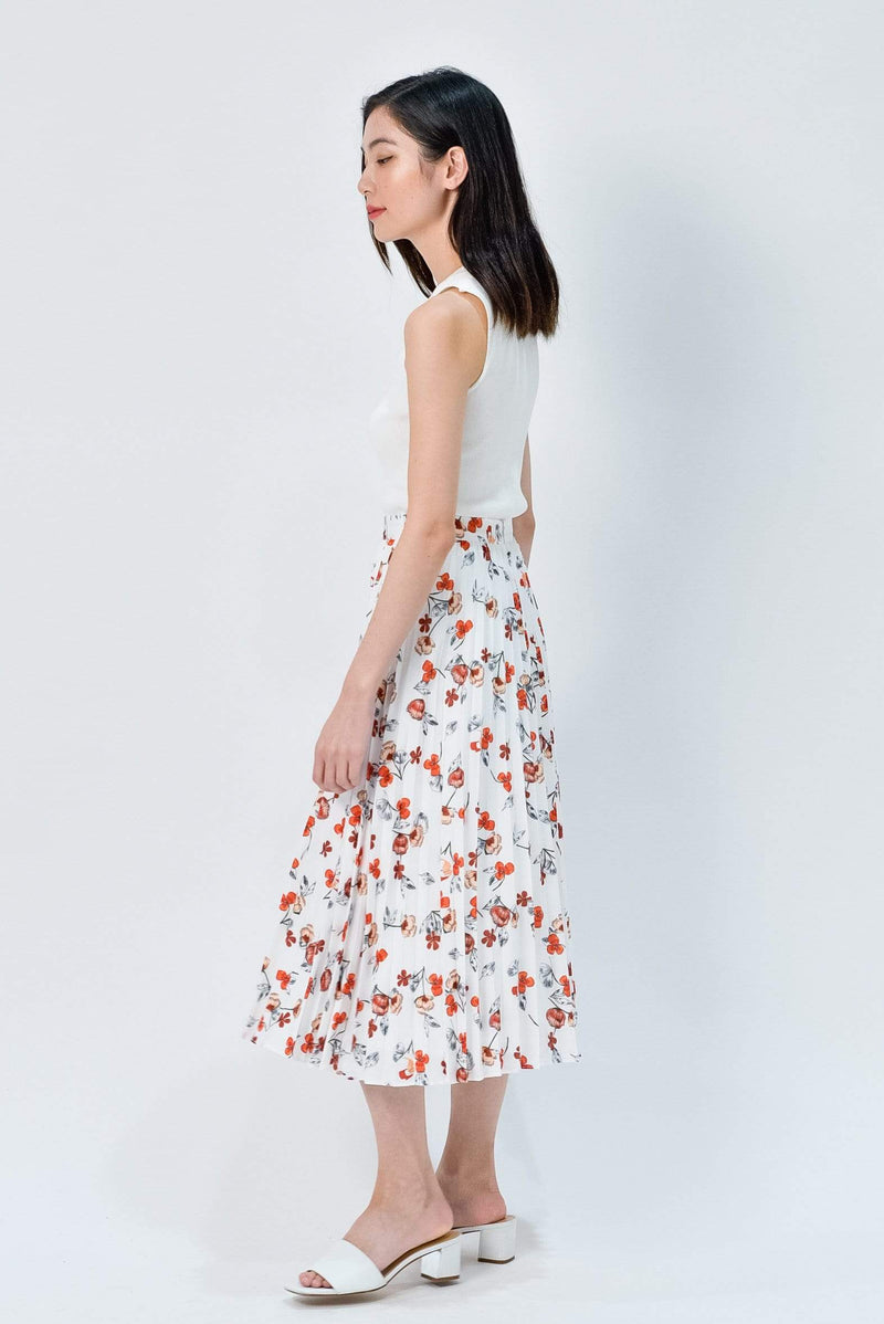 MAPLE WHITE FLORAL PLEATED SKIRT