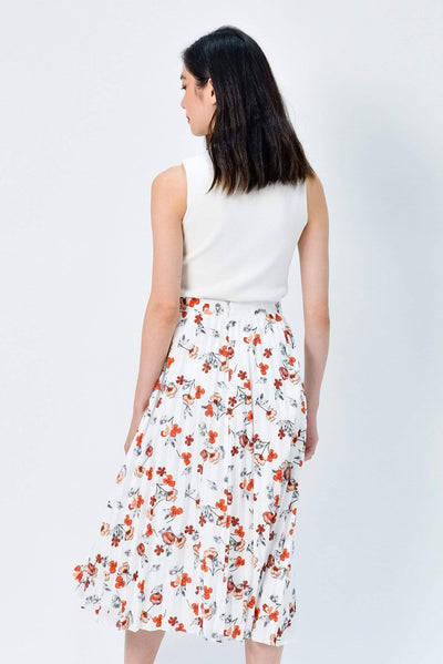 AWE Bottoms MAPLE WHITE FLORAL PLEATED SKIRT