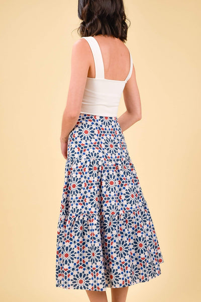 AWE Bottoms MARRAKESH TIERED SKIRT IN NAVY