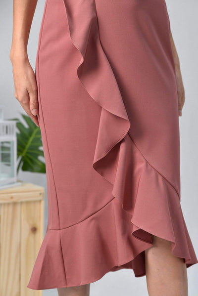 AWE Bottoms TERRI DUSTY PINK RUFFLE MIDI SKIRT