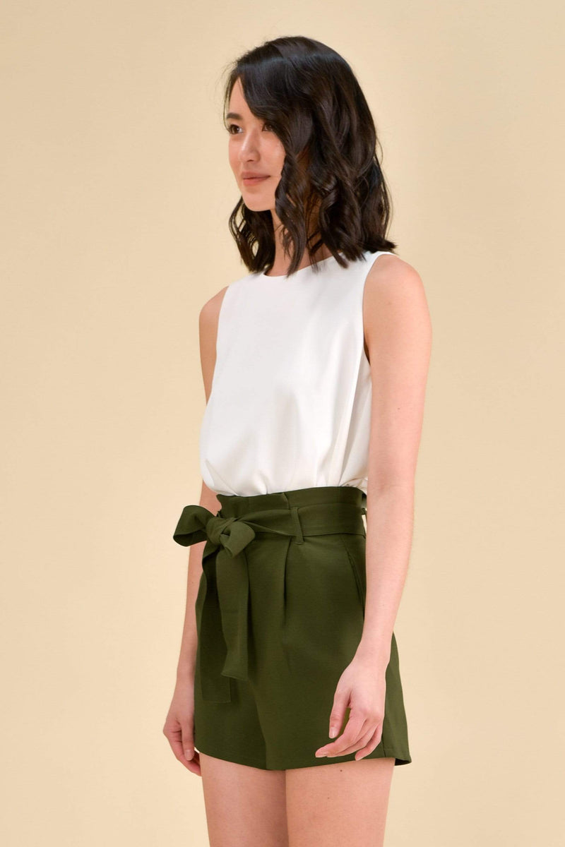 AWE Bottoms TRICIA PAPERBAG SHORTS IN GREEN