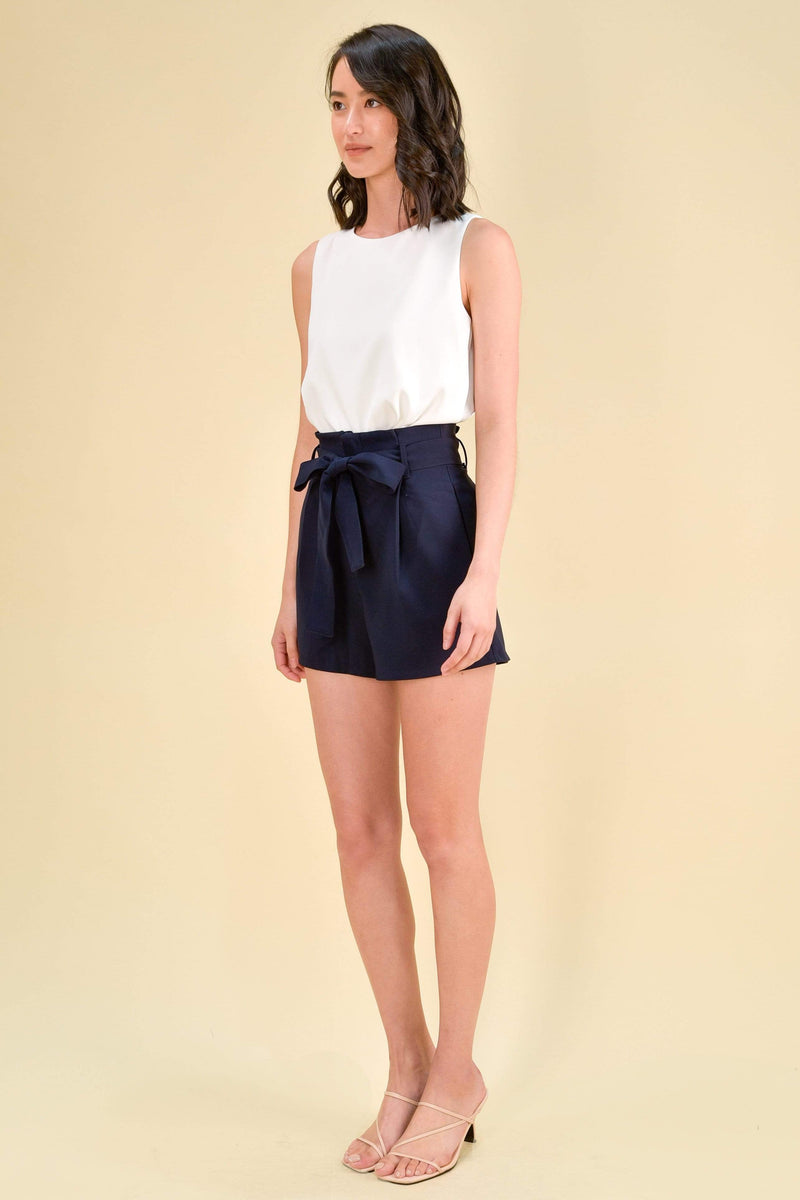 AWE Bottoms TRICIA PAPERBAG SHORTS IN NAVY