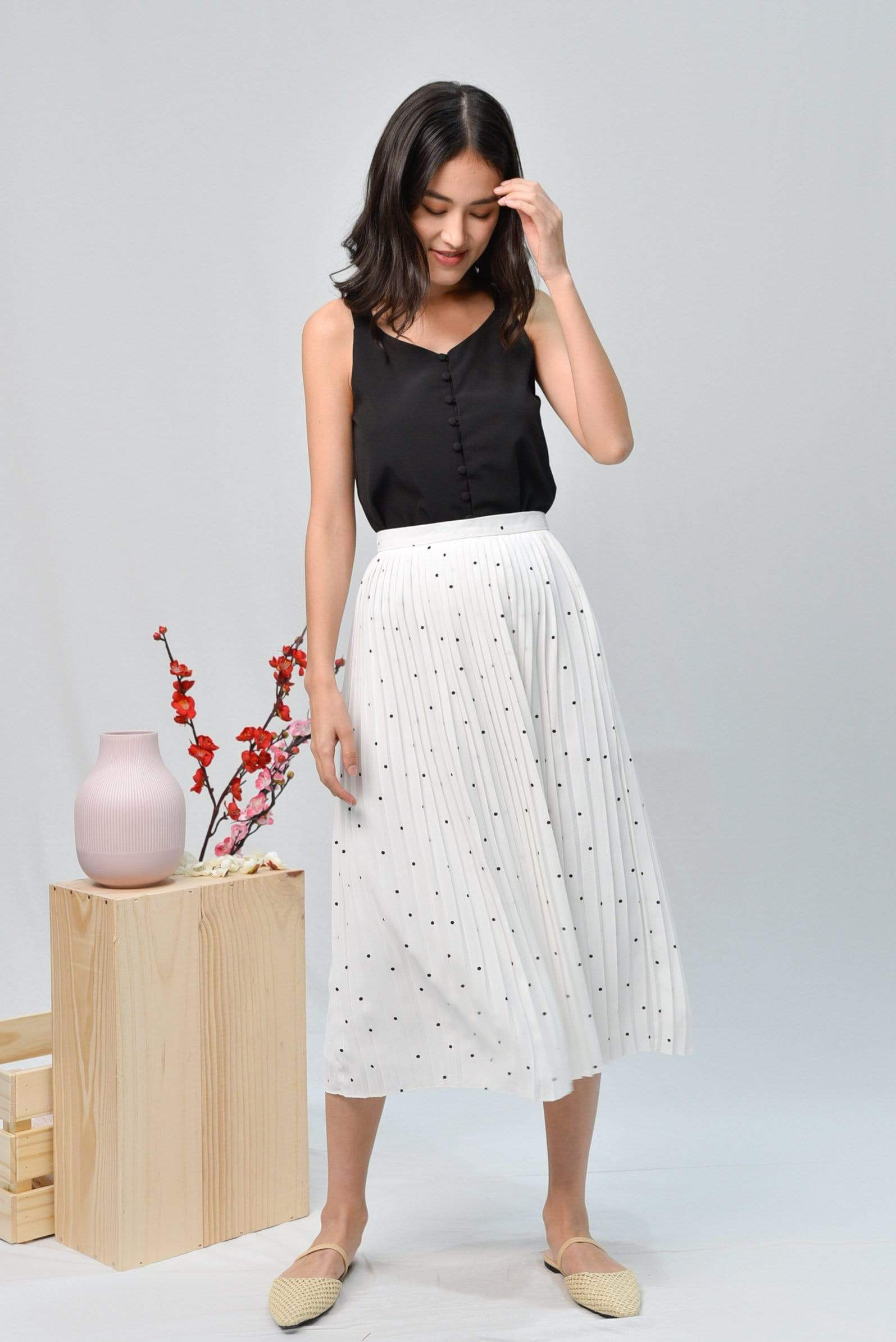 TULESA WHITE POLKA DOT PLEATED SKIRT