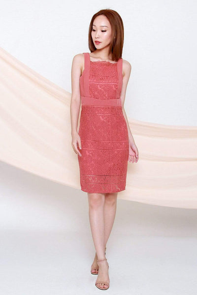 AWE Dresses ADDISON TERRA ROSE LACE PENCIL DRESS