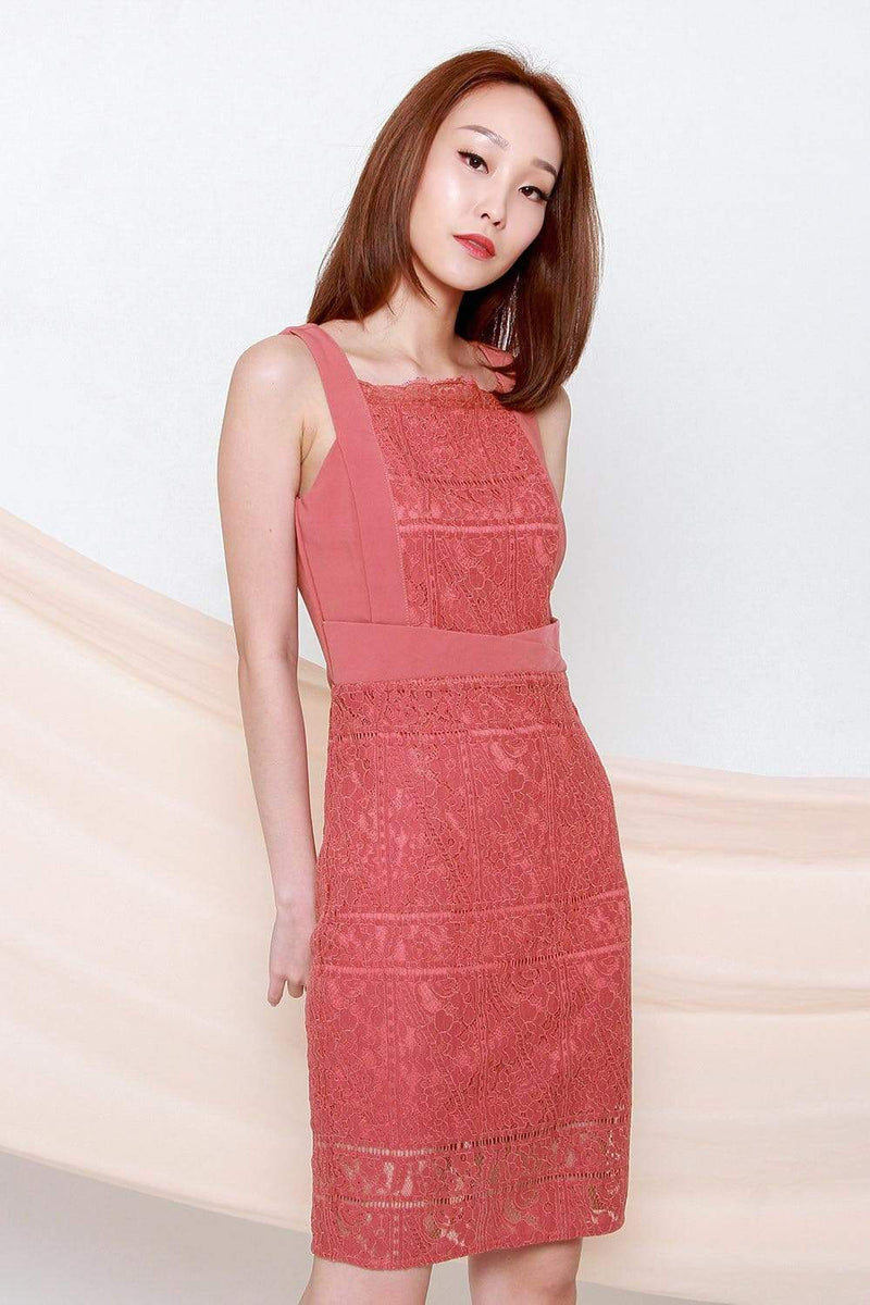 ADDISON TERRA ROSE LACE PENCIL DRESS