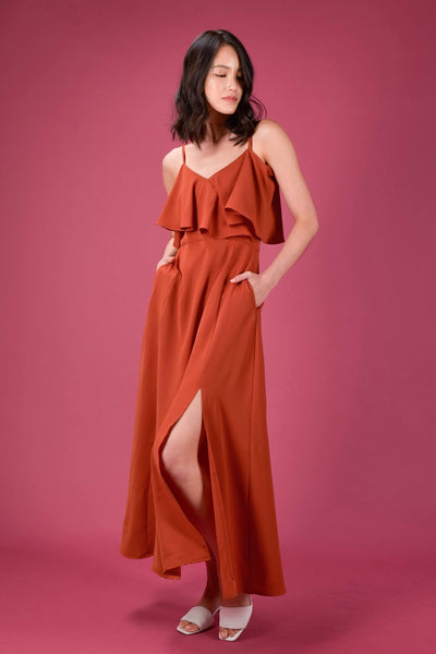 AWE Dresses AISATA COLD-SHOULDER MAXI DRESS IN BRICK