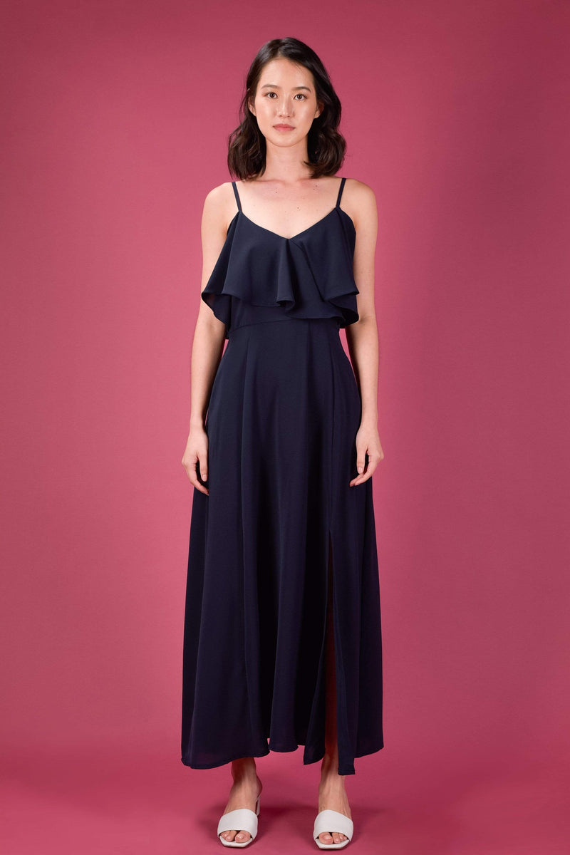 AWE Dresses AISATA COLD-SHOULDER MAXI DRESS IN NAVY