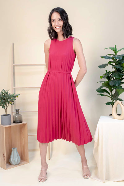 AWE Dresses ALEXIA PLEAT MIDI DRESS IN FUCHSIA