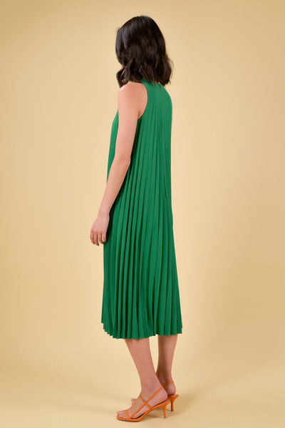 AWE Dresses ALEXIA PLEAT MIDI DRESS IN KELLY GREEN