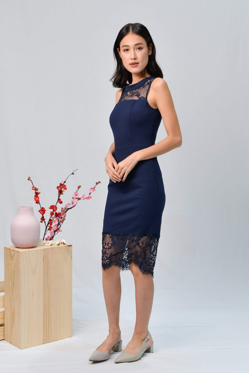AWE Dresses ANGELINA NAVY LACE-INSERT PENCIL DRESS