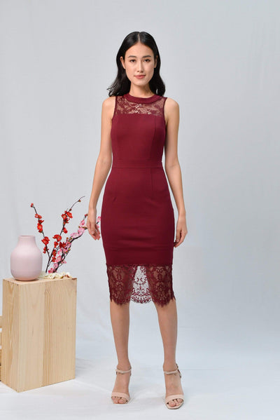 AWE Dresses ANGELINA WINE LACE-INSERT PENCIL DRESS