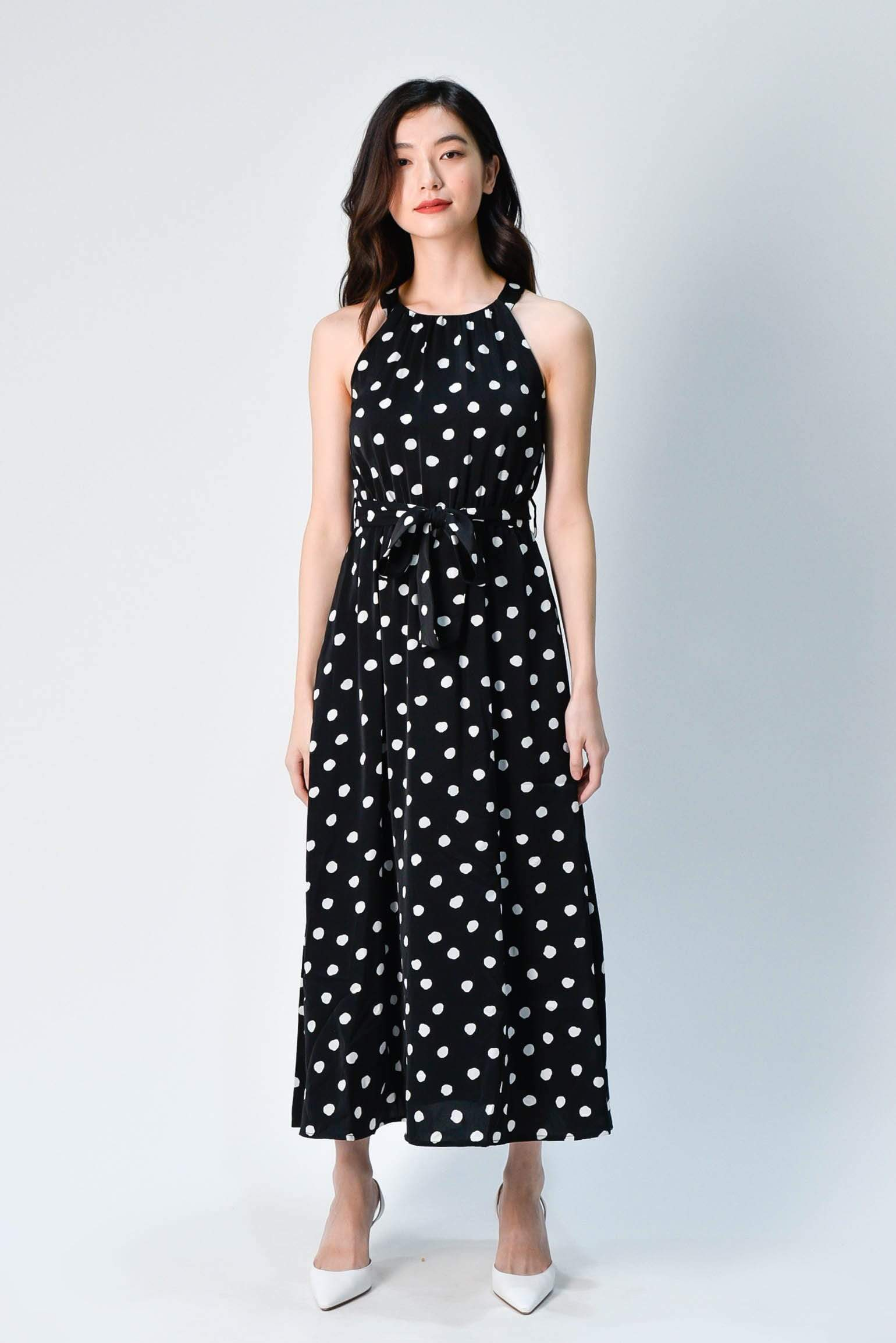 ANTHOS POLKA DOTS HALTERNECK DRESS