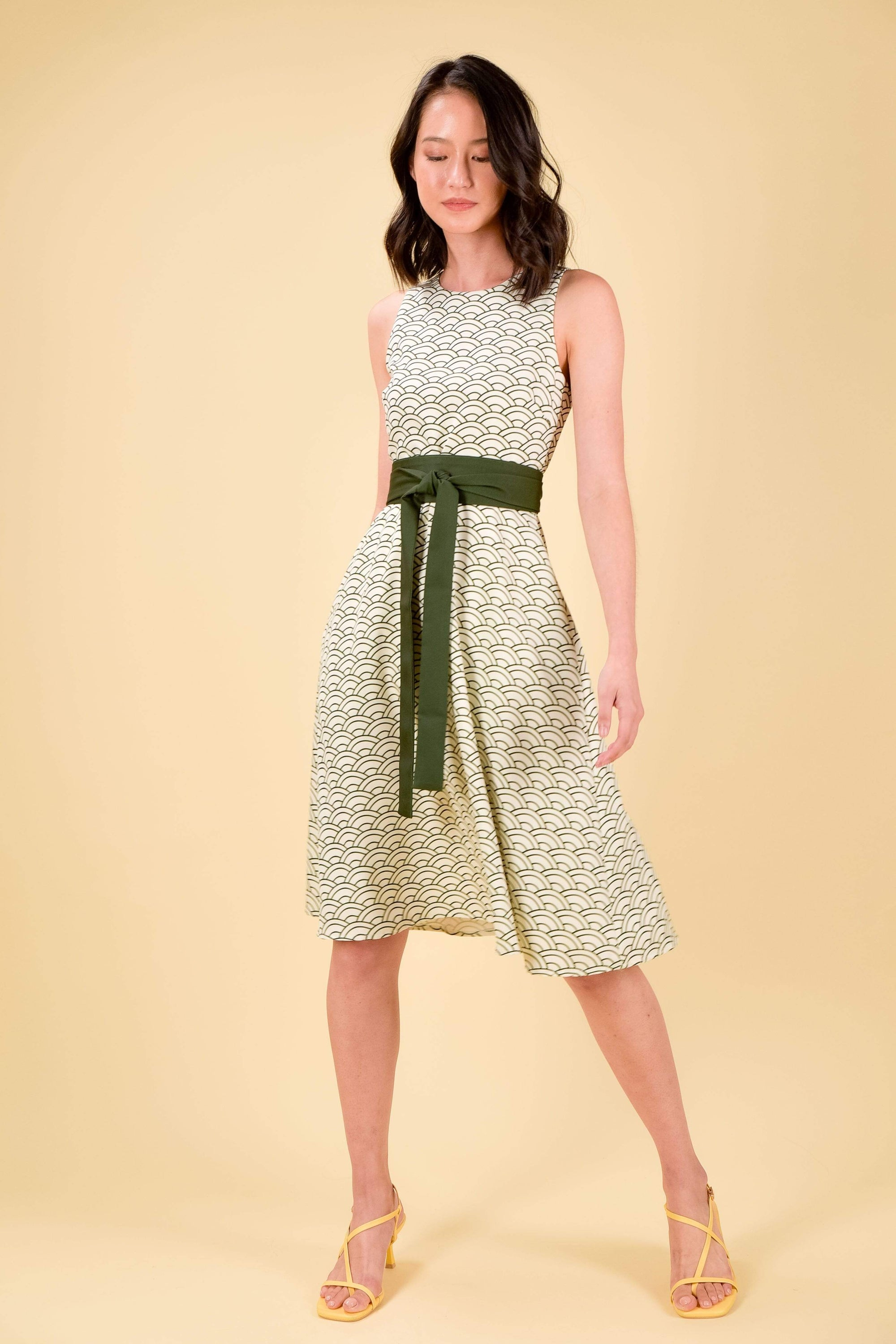 *BACKORDER* AOI FIT-AND-FLARE DRESS IN OLIVE