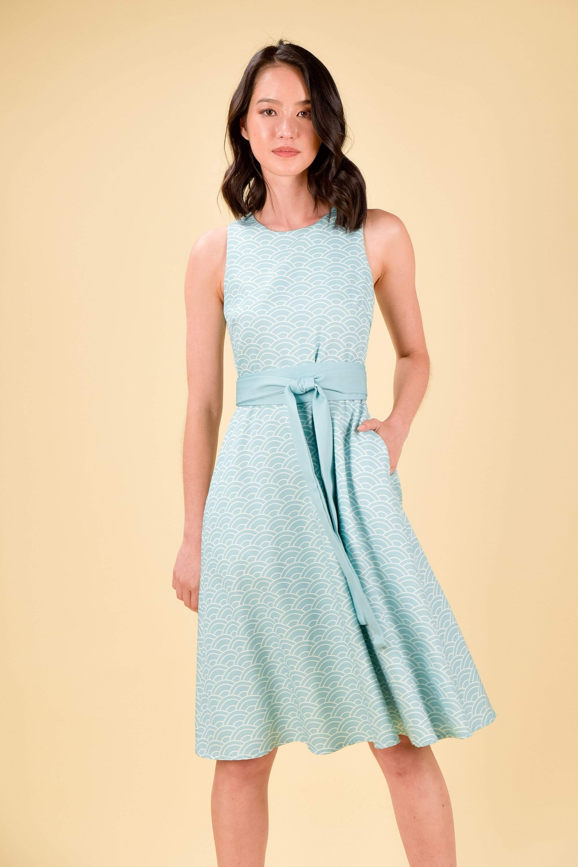 *RESTOCKED* AOI FIT-AND-FLARE DRESS IN SEAFOAM