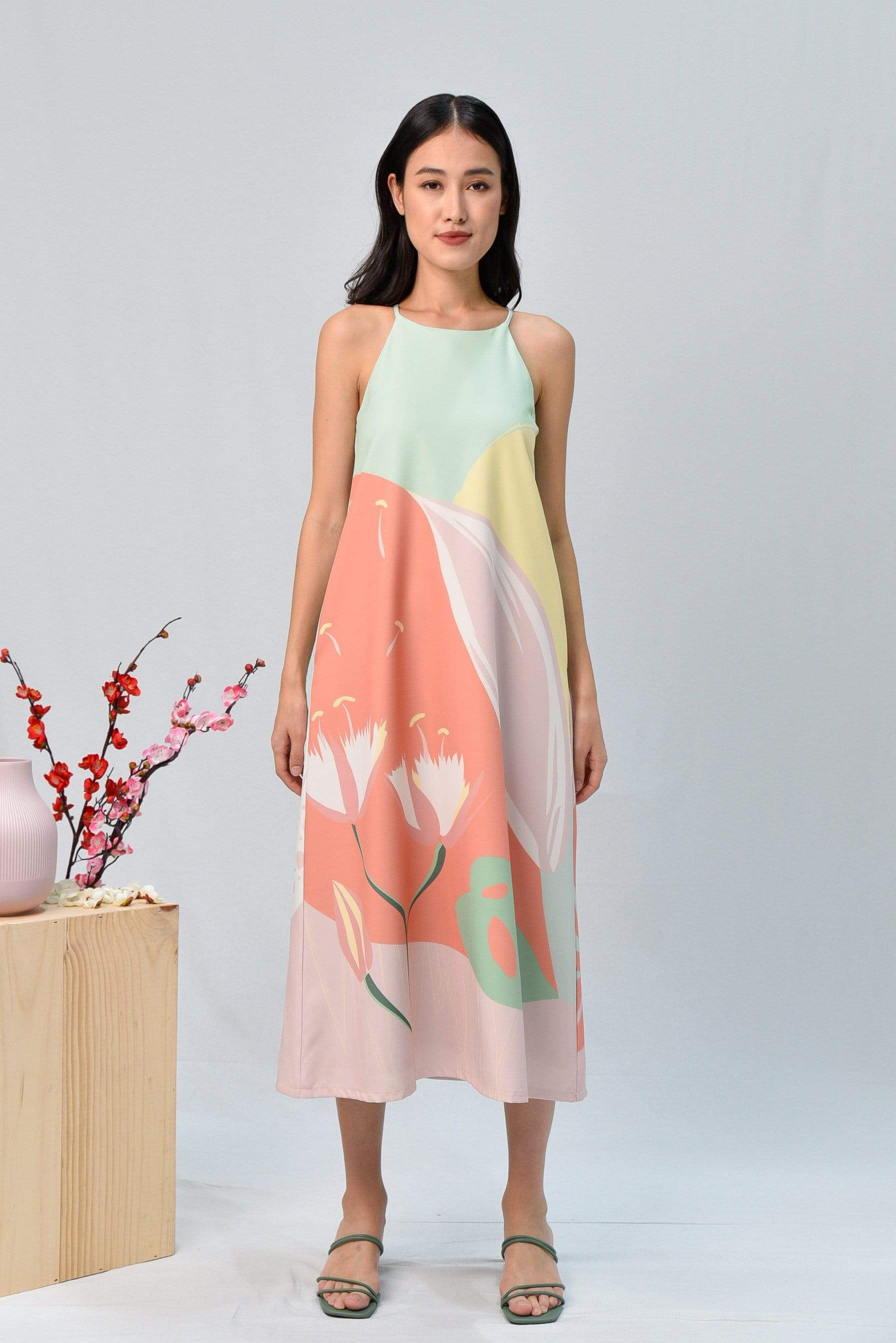 AWE Dresses ARCADIA HIGH-NECK MIDI DRESS IN BLISS