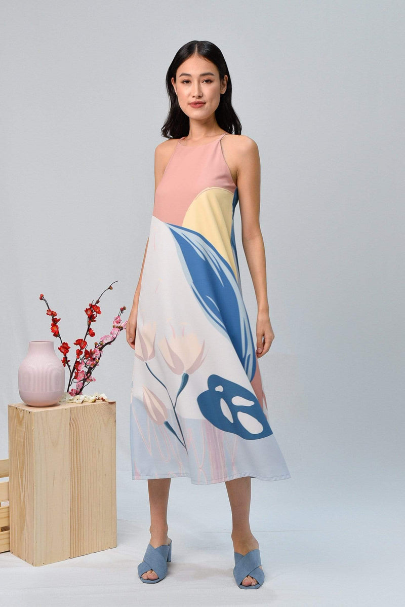 AWE Dresses ARCADIA HIGH-NECK MIDI DRESS IN HARMONY