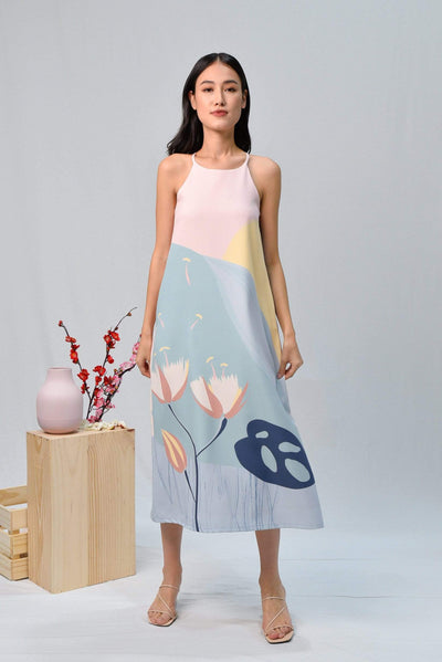 AWE Dresses ARCADIA HIGH-NECK MIDI DRESS IN PURITY