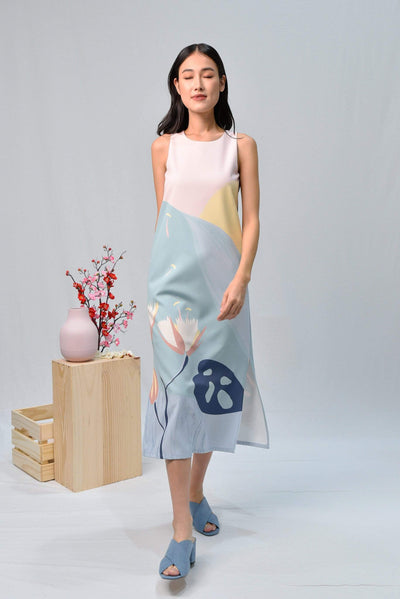 AWE Dresses ARCADIA SIDE-SLIT MIDI DRESS IN PURITY