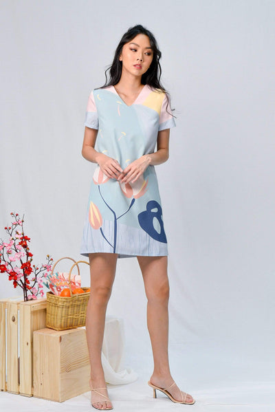 AWE Dresses ARCADIA SLEEVED SHIFT DRESS IN PURITY