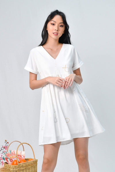 AWE Dresses ARIEL WHITE PICNIC BABYDOLL DRESS