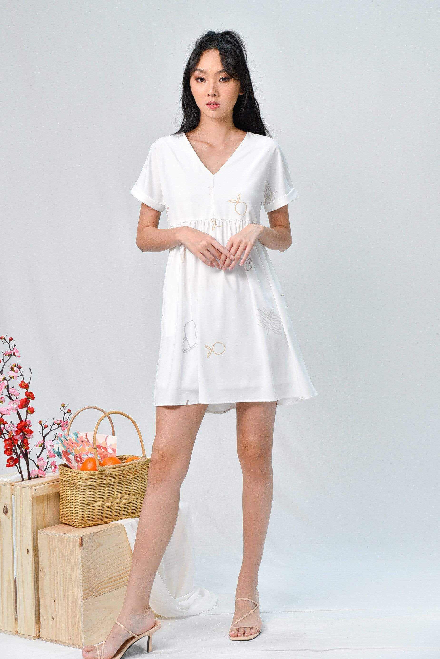 ARIEL WHITE PICNIC BABYDOLL DRESS