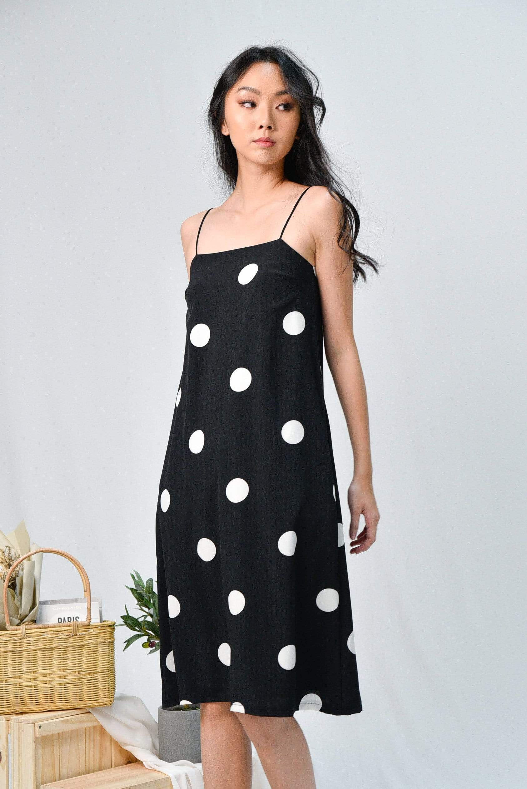 ARYA BLACK POLKA DOT TENT DRESS