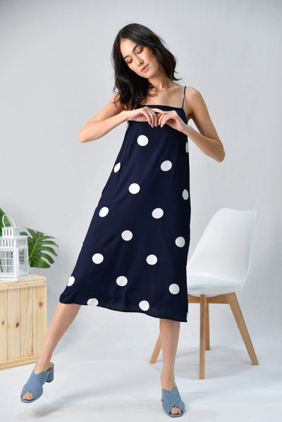 AWE Dresses ARYA NAVY POLKA DOT TENT DRESS