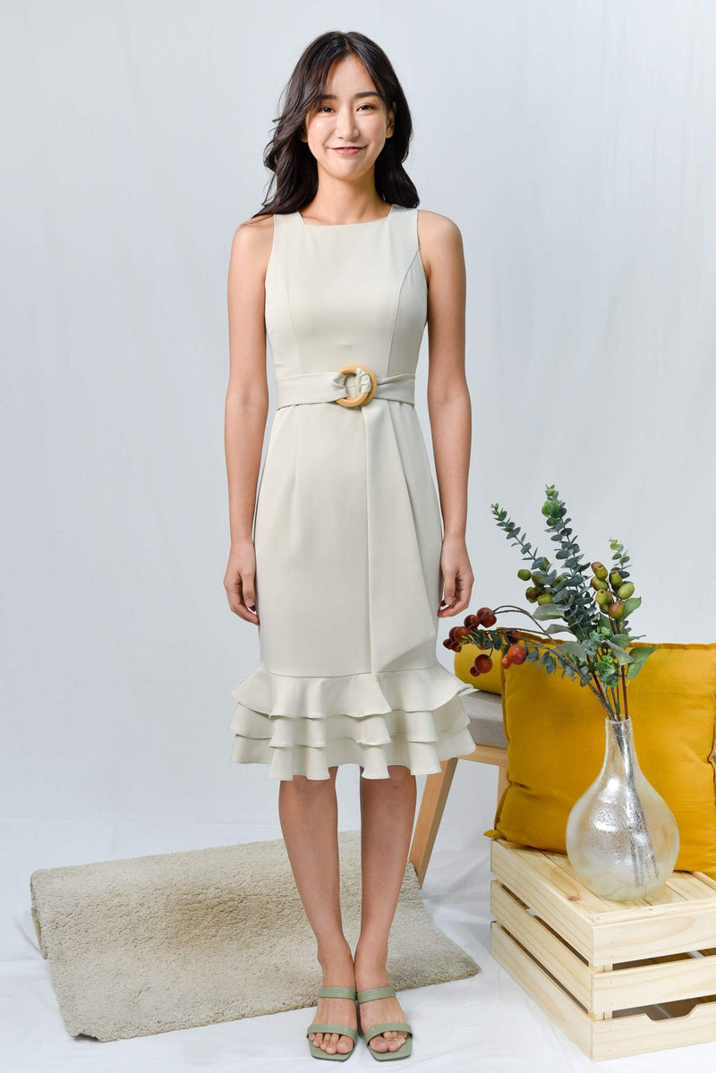 ASYI BEIGEY SAGE TIERED WORK DRESS