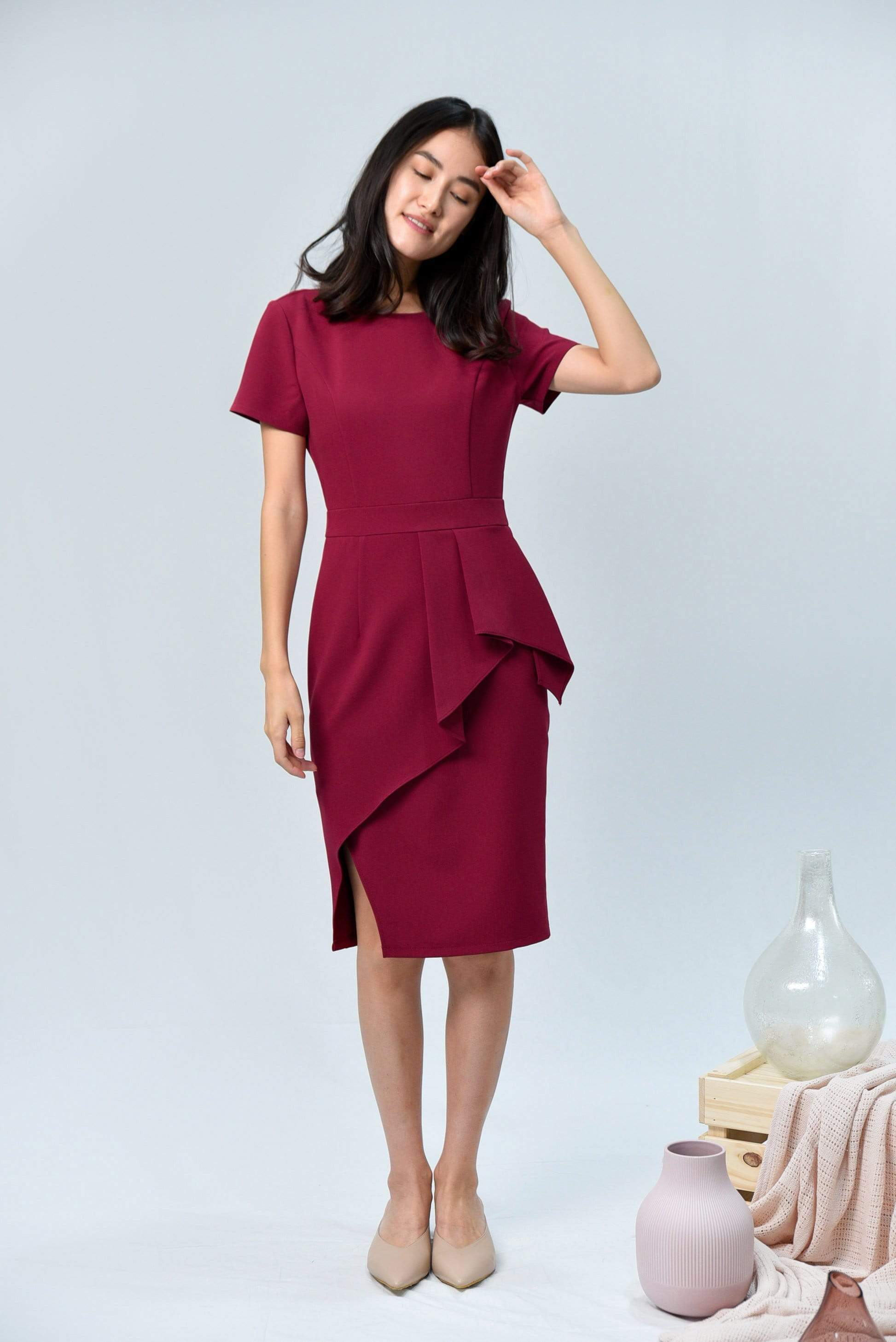 AVA BERRY RED SLEEVED PEPLUM DRESS