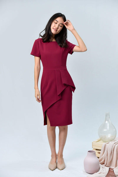 AWE Dresses AVA BERRY RED SLEEVED PEPLUM DRESS