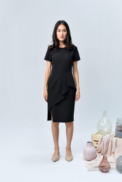 AWE Dresses AVA BLACK SLEEVED PEPLUM DRESS