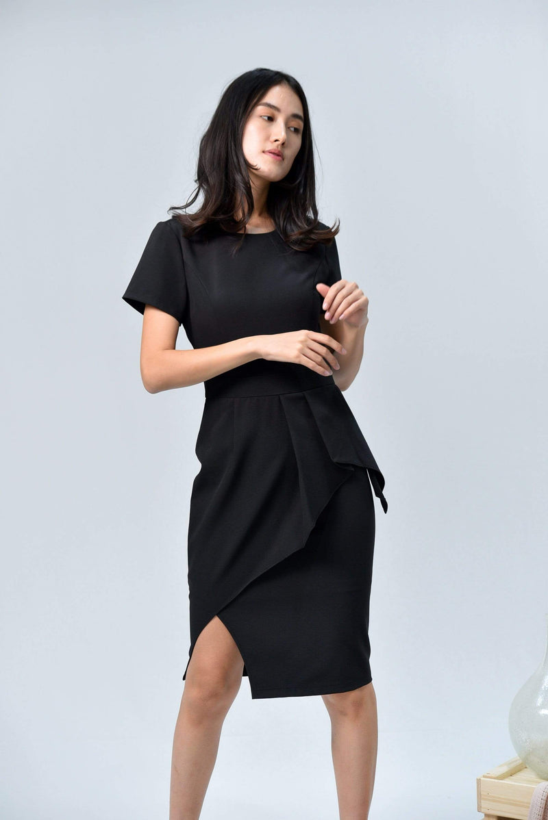 AVA BLACK SLEEVED PEPLUM DRESS
