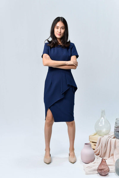 AWE Dresses AVA NAVY SLEEVED PEPLUM DRESS
