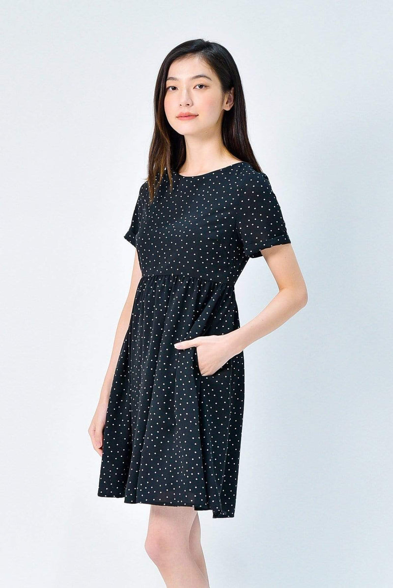 AVERY BLACK POLKA SLEEVED BABYDOLL DRESS