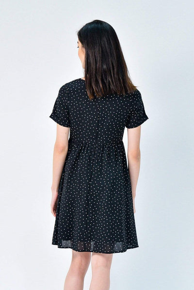 AWE Dresses AVERY BLACK POLKA SLEEVED BABYDOLL DRESS