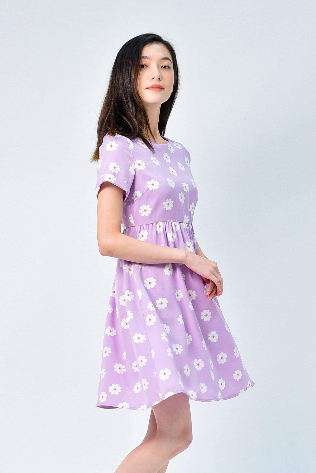 AVERY LAVENDER FLORAL SLEEVED BABYDOLL DRESS
