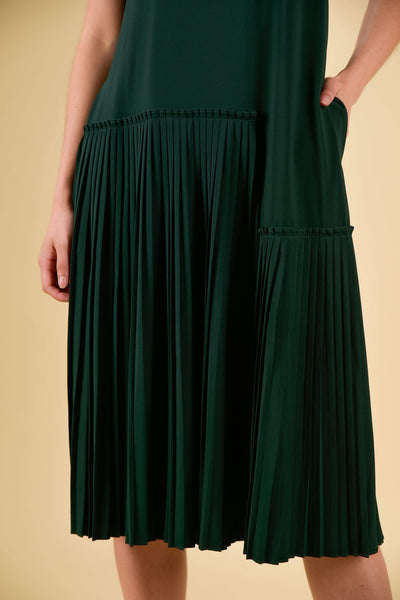 AWE Dresses BETH ASYMMETRICAL PLEAT DRESS IN FOREST