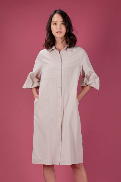 AWE Dresses BETHANY BISHOP-SLEEVE SHIRT DRESS IN BARLEY