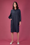 AWE Dresses BETHANY BISHOP-SLEEVE SHIRT DRESS IN NAVY