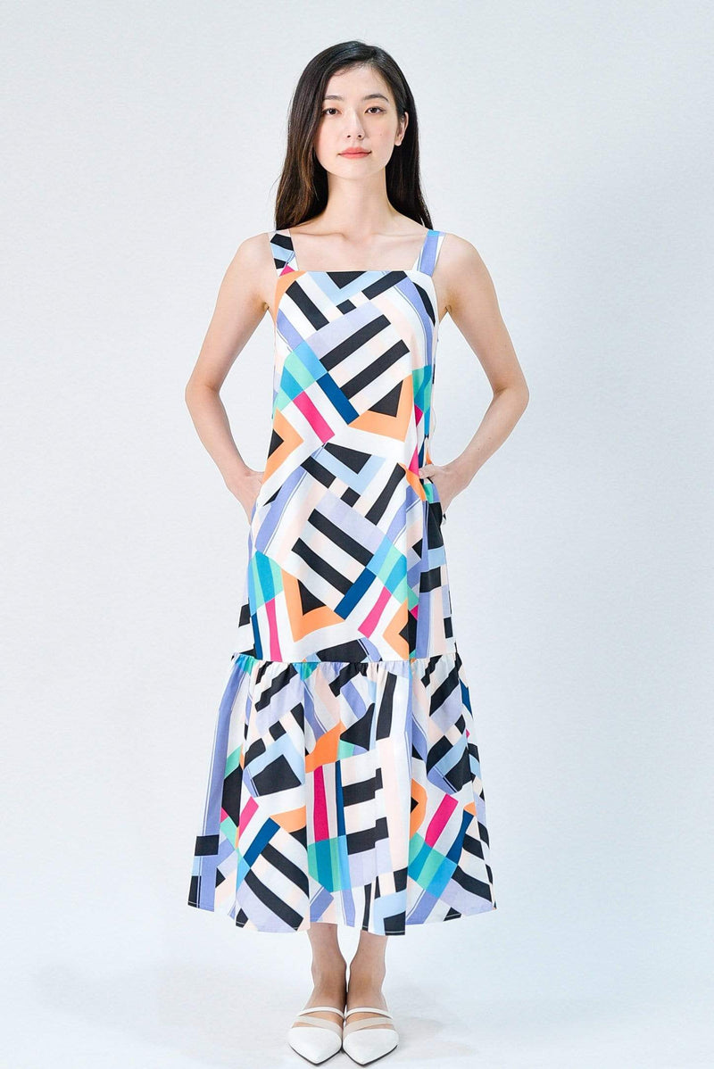BLAIR VIBRANT COLOURWAY DROPWAIST MIDAXI DRESS