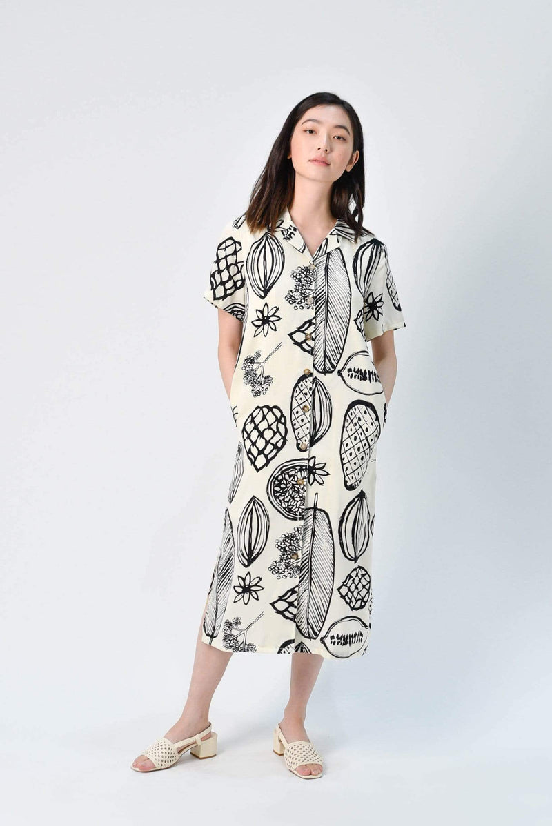 BLAKE FRUIT SHIRT DRESS IN CREAM