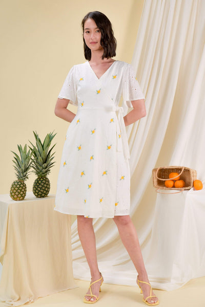 AWE Dresses BLYTHE EYELET DRESS IN YELLOW