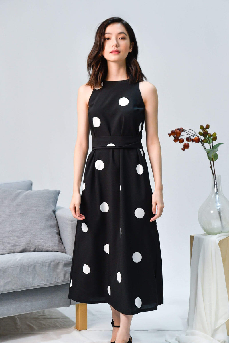 BREE BLACK POLKA SASH MIDI DRESS