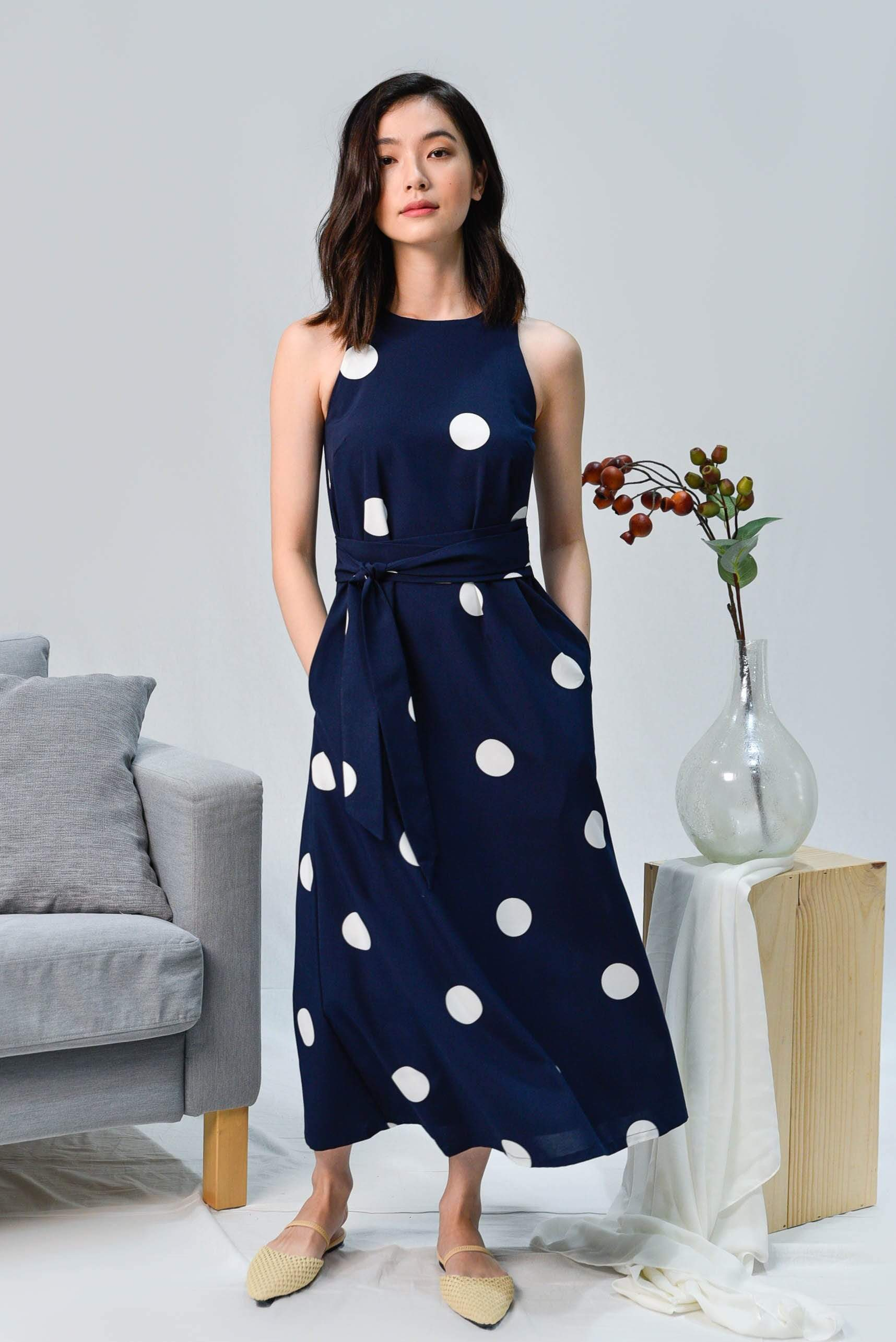 BREE NAVY POLKA SASH MIDI DRESS